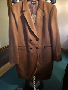 Jaeger Pure New Wool Double Breasted Swing Coat Dark  NEW £350 (tiny Moth Graze)