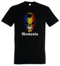 BLACK CLASSIC ROMANIA FOOTBALL SOCCER SKULL FLAG T-SHIRT Fan Hooligan Rumänien