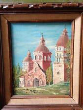 Mid Century European Church Oil Painting 8 X 10 Canvas #58