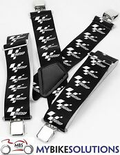 Moto GP Elasticated Motorcycle Motorbike Rider Braces Black White New One Size