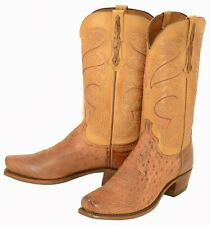 537 New Lucchese (1883) Barnwood Burnished SmoothOstrich Cowboy Boots Men's 8.5D