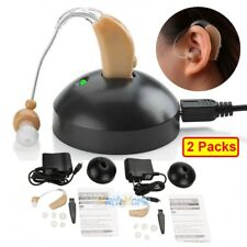 2x Digital Hearing Aids Kit Rechargeable Behind the Ear Sound Voice Amplifier US