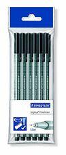 Staedtler 334-9 PB6-Paquete de 6 negro bolígrafos Fineliner, ancho de línea 0.3mm