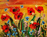 RED POPPIES 3-D  IMPRESSIONIST LARGE ORIGINAL PAINTING BY KAZAV PALETTE KNIFE