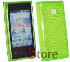 Cover Custodia Per LG L3 OPTIMUS E400 Gel Verde + Pellicola Salva Schermo
