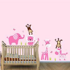 Jungle Animal Wall Decal, Girls Room Safari Stickers, Nursery Wall Art