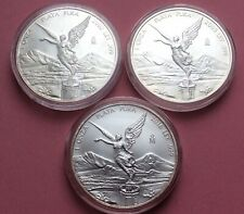 Three 1oz BU 9999 Silver Mexican Libertad Coins, w Capsules. 2002, 2005, 2016.