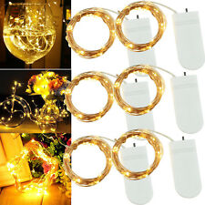 6 PCS 20 LEDs Fairy String Lights Starry Rope Copper Wire Battery Operated Lamps