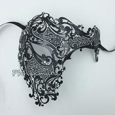 Black Phantom Laser Cut Party Venetian Mask Masquerade Metal Men Skull Filigree