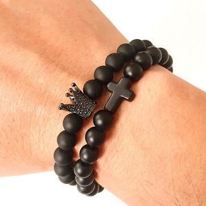 Hot Mens Rhodium Plated Crown & Cross Matte Agate Gemstone Beaded Bracelet 1 Set