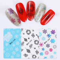 Water Decals Christmas Snowflakes  Nails Transfer Stickers DIY Decor