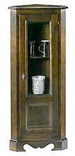 Vetrina ad angolo in legno arte povera, angoliera mobile classico legno massello