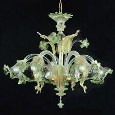 Ca' venier lustre en verre de Murano 5 lumières cristal or vert