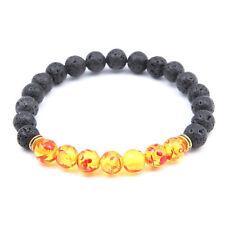 Rope Lava Stone Buddha Bead Bracelet Gift Bangle Jewelry Yellow