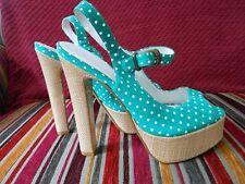 Love Label white & green spotty sandals UK 5 - wedge high heel shoe Polka dot