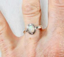 Flashy Petite Oval Ethiopian Opal Ring with Border 925 Sterling Silver Size 8