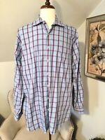 PETER MILLAR Men's Plaid Long Sleeve Button Down Shirt Blue XL XLarge EUC