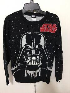 Youth Boys Star Wars Black Darth Vader Sweater Shirt Size Medium