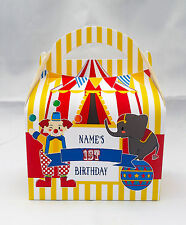Circus Carnival Children's Personalised Party Boxes Favour 1ST CLASS POST