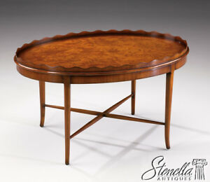 21209: Nice Scalloped Top Walnut Cocktail Coffee Table w Stretcher Base  ~ New
