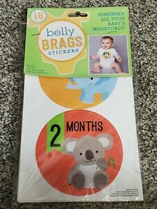 NEW Belly BRAGS Stickers! Remember All your Baby's Milestones 18 Stickers