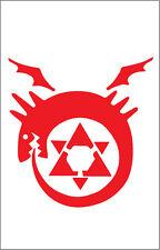 Ouroboros Vinyl Sticker 7x6 inch Red Full Metal Alchemist, Naruto