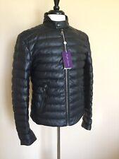 NWT Ralph Lauren Purple Label Navy Down Fill Leather Jacket Slim M Italy $3995