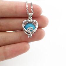 -K644 Heart Bead Locket Kitten Cat Footprint Pearl Cage Aromatherapy Necklace