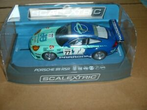 SCALEXTRIC PORSCHE 911 GT3 PARAGON LIVERY No.77 USED & UNBOXED