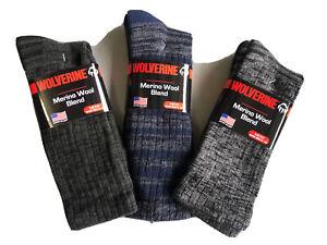 3 Pair of Wolverine Merino wool crew socks Large