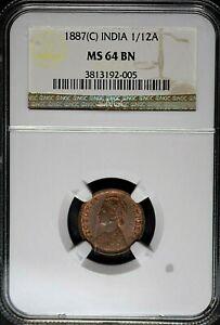 India British 1887(C) 1/12 Anna NGC MS64BN TOP-POP