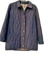 Burberry Jacket  Nova Check Nylon Vintage Womens Navy Blue Size Xl