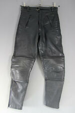 AKITO BLACK LEATHER BIKER TROUSERS: WAIST 28 INCHES/INSIDE LEG 27 INCHES