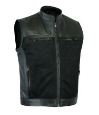 Mens Sons of Anarchy Genuine Perforated Leather Waistcoat Motorcycle Biker Vest