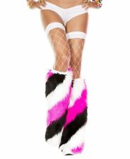 New Music Legs 5540 Diagonal Stripe Faux Fur Knee High Leg Warmers