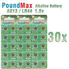 30 X PoundMax AG13 LR44 SR44 L1154 A76 1.5V ALKALINE BUTTON BATTERIES