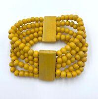 Pulsera de abalorios de madera amarillos nueva mujer bisuteria boho regalo moda