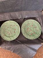 """Bordallo Pinheiro set 2 Holiday Salad Plates 8 1/4"""" holly & lattice, chips on 1"""
