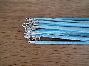 1 Cordon Collier Cuir Bleu Turquoise 44cm/Acier Inox Homme/femme/Garçon/fille *