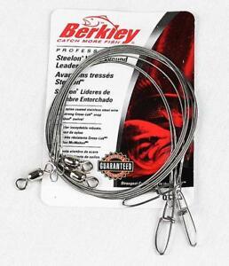 "3 Berkley Steelon Fishing Leader 20# 30# 45# Bright 12"" Nylon Coated Stainless"