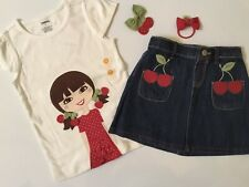 NWT Gymboree Girls Set With Tee ,Skirt , Hair Clip And Scrunchy
