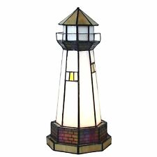 Bieye 12 inches Lighthouse Tiffany Style Stained Glass Accent Table Lamp