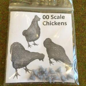 00 Scale Chickens - Model Raiway Farm Animals Resin Wargame Scenery oo/ho 1/76