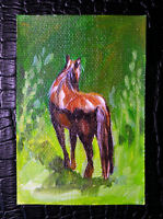 """Original art by Bastet """"Red Horse"""" OOAK hand painted ACEO"""