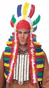 Native American Headdress Long Multi Color Feather Chief Costume Headpiece