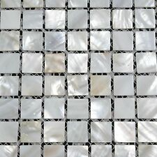 Mother of Pearl Mosaic Tile Naturel White Bianco 20x20mm MOP015 / SQM