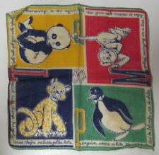 Vintage Childrens The Happy Zoo Hankie Handkerchief Tom Lamb Panda Penguin