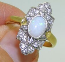 ART DECO STYLE GOLD OVER SOLID SILVER OPAL CABOCHON CLUSTER RING - size O