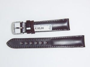 FLUCO Genuine Italian Shell Cordovan Leather Watch Band Strap 18 mm Brown
