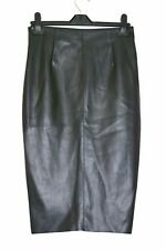 Black Faux Leather Straight Pencil Skirt Atmosphere Size 6 Back Split Zip Fasten